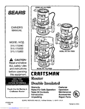 Craftsman 315.175040 Owner's Manual