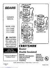 craftsman 315 175060 manuals rh manualslib com Craftsman Professional Router Table Manual Craftsman Professional Router Table Manual