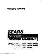 kenmore 17841 manuals rh manualslib com Sears Sewing Machine Parts Kenmore 28 Sewing Machine Manual