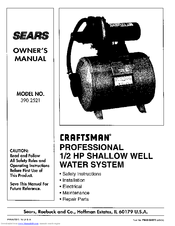 Craftsman 390.2521 Owner's Manual