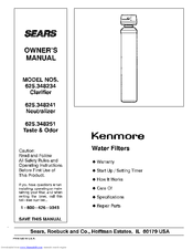 Kenmore 625.348234 Owner's Manual