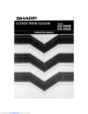 Sharp CS-2800 User Manual