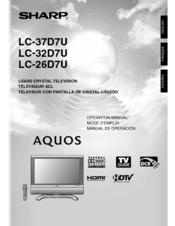 sharp 37d7u lc 37 lcd tv manuals rh manualslib com Sharp LC 32Sb24u Remote sharp lcd tv lc-32sb24u manual