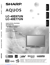 sharp lc40e67u lc 40 lcd tv manuals rh manualslib com Sharp Operation Manuals Sharp User Manual