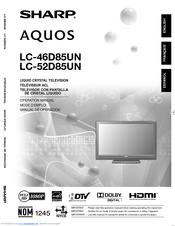 SHARP AQUOS LC 46D85UN OPERATION MANUAL Pdf Download