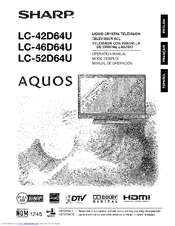 sharp aquos lc 46d64u manuals rh manualslib com Sharp AQUOS 60 Inch TV Sharp Aquos TV Problems