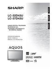 Sharp AQUOS LC-32D43U Operation Manual