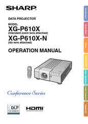 Sharp XG-P560W - WXGA DLP Projector Operation Manual