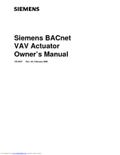 Siemens BACnet VAV 2567 Owner's Manual