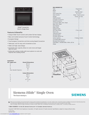 Siemens iSlide HB30S51UC Specifications
