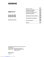 Siemens SIMATIC PC 670 Start-up Instructions