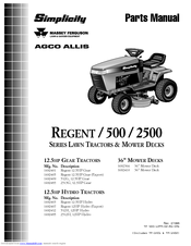 SIMPLICITY REGENT 500 PARTS MANUAL Pdf Download