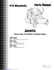 SIMPLICITY JAVELIN TP 400-4284-01-HZ-S PARTS MANUAL Pdf