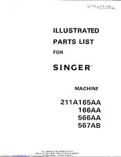Singer 211A566A Illustrated Parts List