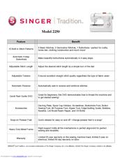 singer tradition 2250 manuals rh manualslib com singer 2250 manual de instrucciones singer 2250 manual pdf español