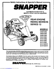 Snapper 281013BE Safety Instructions & Operator's Manual