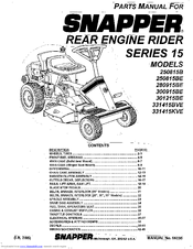 snapper 280915be manuals rh manualslib com Old Snapper Mower Parts Manual Snapper Riding Mower Model Numbers