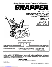 Snapper I55223 Safety Instructions & Operator's Manual