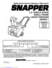 Snapper LE3191R Safety Instructions & Operator's Manual