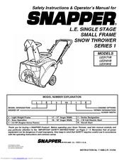 Snapper LE3171R, LE3191R, LE3191E Safety Instructions & Operator's Manual