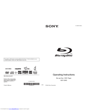 Sony BDP-S360HP - Blu-ray Disc™ Player Operating Instructions Manual