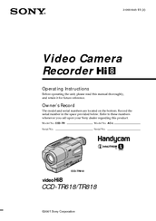 sony handycam ccd tr818 manuals rh manualslib com Sony CCD Camera Sony Super HAD CCD Color