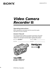 SONY HANDYCAM CCD-TR517 OPERATING INSTRUCTIONS MANUAL Pdf