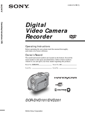 Sony DCR-DVD101 Operating Instructions Manual