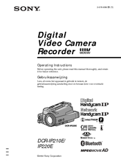 Sony DCR-IP210E Operating Instructions Manual