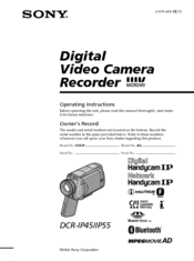 Sony DCR-IP45 - Micromv Digital Camcorder Operating Instructions Manual