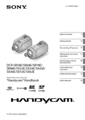Sony DCR-SR68/L - Hard Disk Drive Handycam Camcorder User Manual