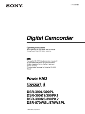 Sony PowerHAD DSR-390L Operating Instructions Manual