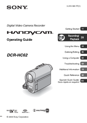 sony handycam dcr hc62 manuals rh manualslib com Sony Operating Manuals ICD-UX523 Sony Operating Manuals