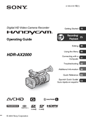 Download free pdf for sony handycam hdr-ax2000 camcorders manual.