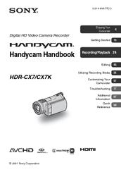 sony handycam hdr cx7 handbook pdf download rh manualslib com Sony Camcorders Blue Sony Full HD Camcorder