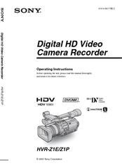 sony hvr z1e operating instructions manual pdf download rh manualslib com sony hvr z1e manual pdf sony hvr z1u manual pdf