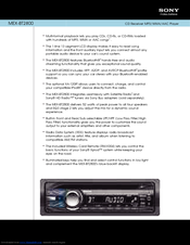 Sony MEX-BT2800 - Bluetooth Audio System Specifications