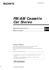 Sony Car Stereo Operating Instructions Manual
