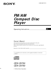 Sony CDX-C4750 - Fm/am Compact Disc Player Operating Instructions Manual