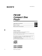 Sony CDX-CA850X - Fm/am Compact Disc Player Operating Instructions Manual