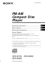 sony cdx m750 fm am compact disc player manuals