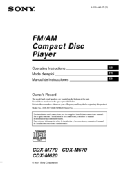 Sony CDX-M620 - Fm/am Compact Disc Player Operating Instructions Manual