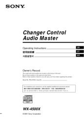 Sony WX-4500X Installation/Connections Operating Instructions Manual