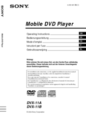 Sony DVX 11B Operating Instructions Manual