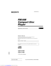 Sony 0 CDX-3160 Operating Instructions Manual