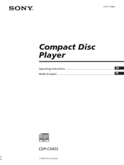 Sony CDPCX455 - 400 Disc MegaStorage CD Changer Operating Instructions Manual