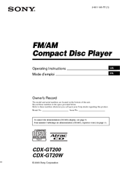 sony cdx gt200 fm am compact disc player manuals sony cdx gt200 fm am compact disc player operating instructions manual