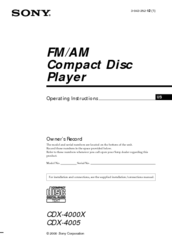 Sony CDX-4005 - Fm/am Compact Disc Player Operating Instructions Manual