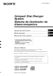 Sony CDX-555RF Operating Instructions (English/Español) Operating Instructions Manual