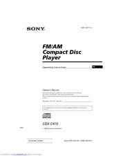 sony cdx c410 operating instructions manual pdf
